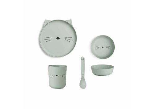Liewood Liewood Tableware Set Bamboo Cat Dusty Mint