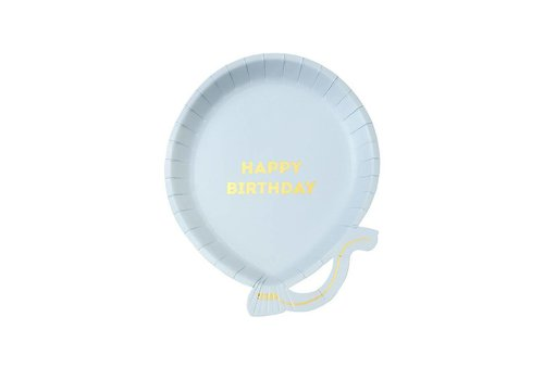 Talking Tables Talking Tables Papieren Bordjes Ballon 'Happy Birthday' 12 Stuks Blauw