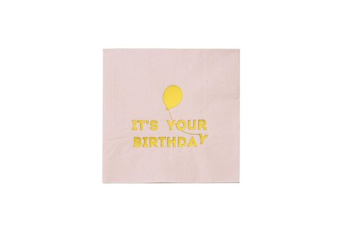 Talking Tables Talking Tables Servetten 'It's Your Birthday' 16 Stuks Roze