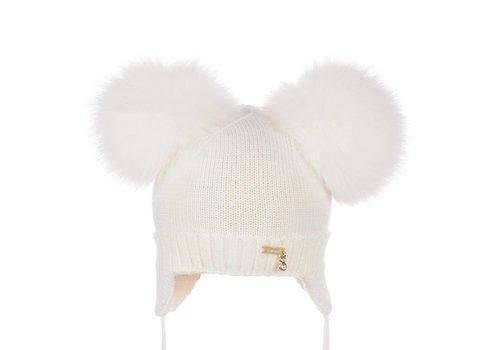 Il Trenino Il Trenino Hat Double Pom Pom White