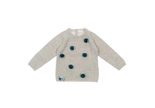 Il Gufo Il Gufo Sweater Grijs - Blauw Pompon