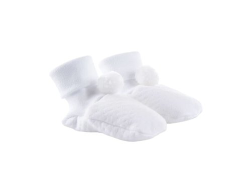 Theophile & Patachou Theophile & Patachou Baby Bootees Jersey Padded Pompon White