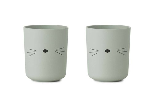 Liewood Liewood Beker Bamboo Cat Dusty Mint 2 Pack
