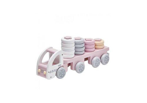 Kids Concept Kids Concept Vrachtwagen Met Ringen Roze