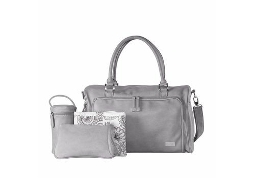 Isoki Isoki Diaper Bag Double Zip Satchel Portsea Grey