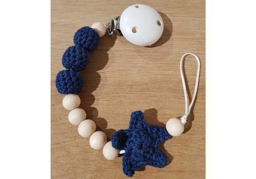 MiniM MiniM Fopspeenketting Ster Donkerblauw Witte Clip