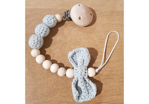 MiniM MiniM Pacifier Clip Bow Light Grey Wooden Clip