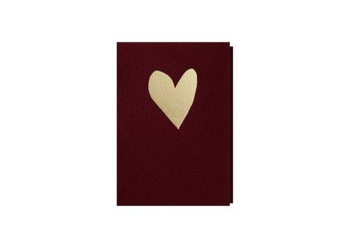Papette Papette Wenskaart Hart Dieprood + Gouden Omslag