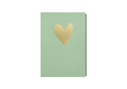 Papette Papette Wenskaart Hart Muntgroen + Gouden Omslag