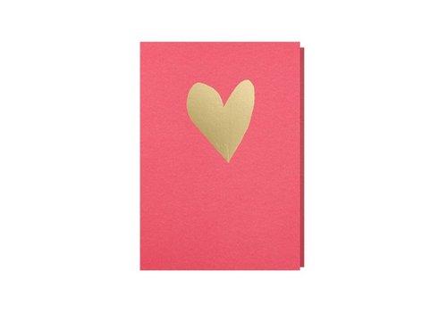 Papette Papette Wenskaart Hart Felroze + Envelop