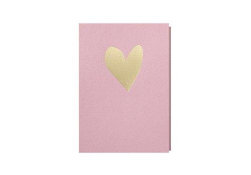 Papette Papette Wenskaart Hart Roze + Envelop