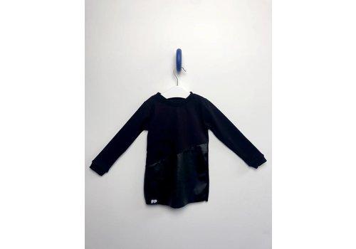 From Paris From Paris Girl Leather Sweatshirt Dress - Black