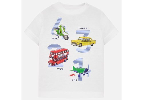 Mayoral Mayoral T-Shirt 1 2 3 4 Vehicles Wit