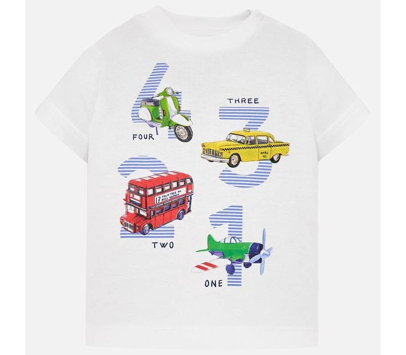 Mayoral T-Shirt 1 2 3 4 Vehicles Wit