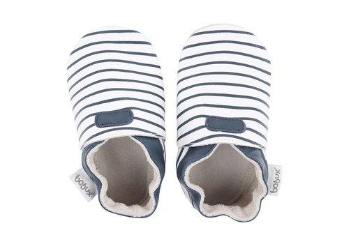 Bobux Bobux Baby Shoes White With Navy Stripes
