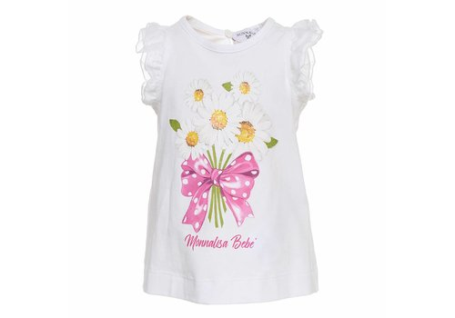 Monnalisa Monnalisa T-Shirt Flowers Bow White
