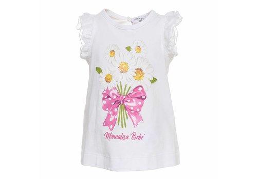Monnalisa Monnalisa T-Shirt Flowers Bow Wit