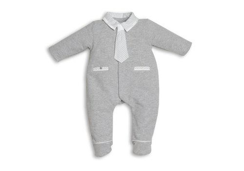 My First Collection First Pyjamas With Tie Grey Stripes