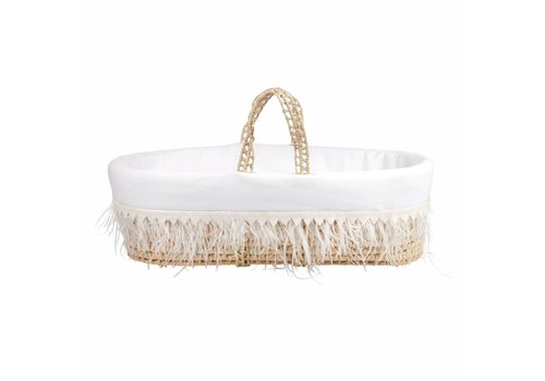 Theophile & Patachou Theophile & Patachou Wicker Travel Cot + White Cover Plumes