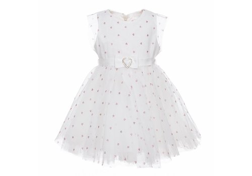 Monnalisa Monnalisa Dress White Pink Hearts