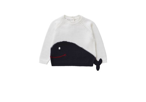 Il Gufo Il Gufo Sweater Shark White - Dark Blue