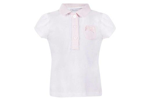 Patachou Patachou Polo White - Pink Bow