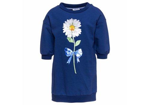 Monnalisa Monnalisa Sweaterdress Flower Navy