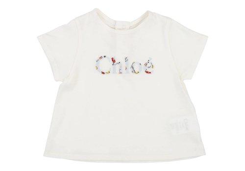 Chloe Chloe T-Shirt Logo Gebroken Wit