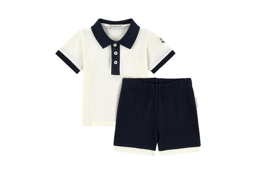 Moncler Moncler Polo With Short Pants White - Navy
