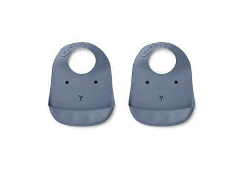 Liewood Liewood Silicone Bib Rabbit Blue Wave 2-Pack