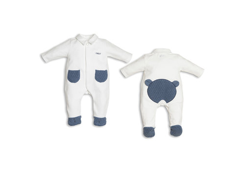 My First Collection My First Collection Pyjamas Teddy On Back White - Denim