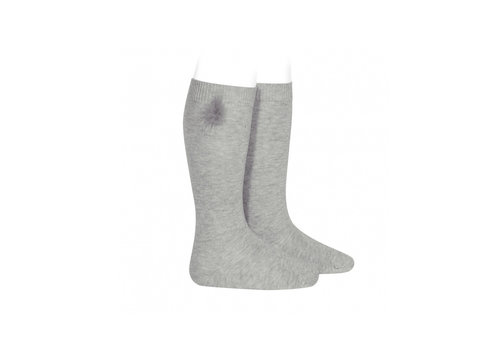 Condor Condor Knee Socks With Pom Pom Grey