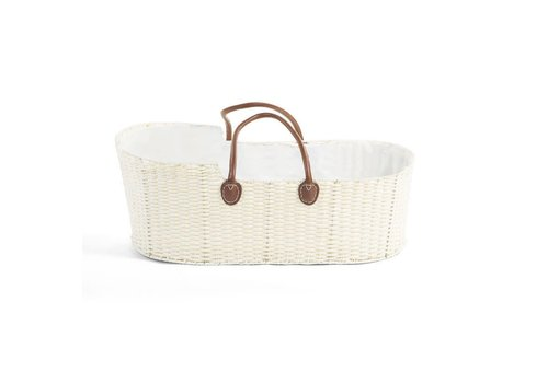 Childhome Childhome Moses Basket Offwhite + Brown Leather