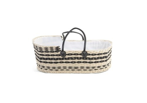 Childhome Childhome Moses Basket Natural + Black Leather