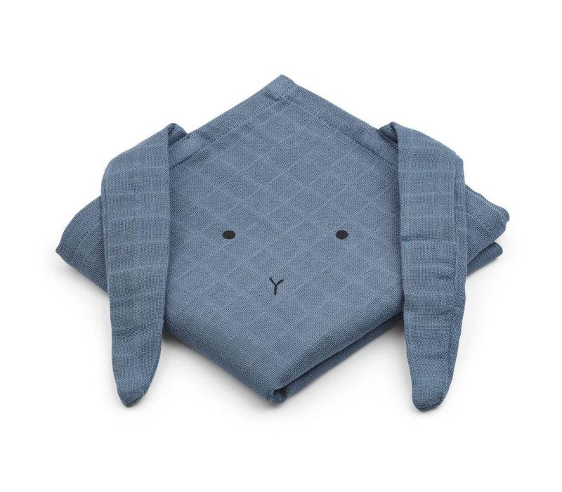 Liewood Muslin Cloth Rabbit Blue Wave 2-Pack