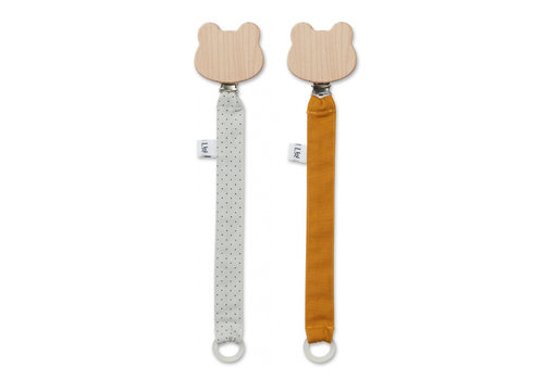 Liewood Liewood Pacifier Clip Little Dot Dumbo Grey 2-Pack