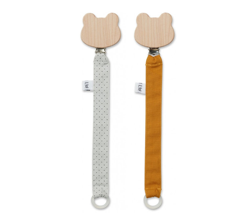 Liewood Pacifier Clip Little Dot Dumbo Grey 2-Pack