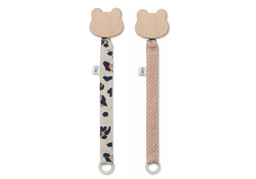 Liewood Liewood Pacifier Clip Leo Beige Beauty 2-Pack