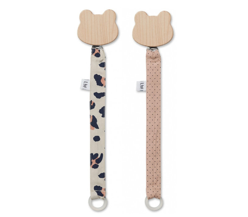 Liewood Pacifier Clip Leo Beige Beauty 2-Pack
