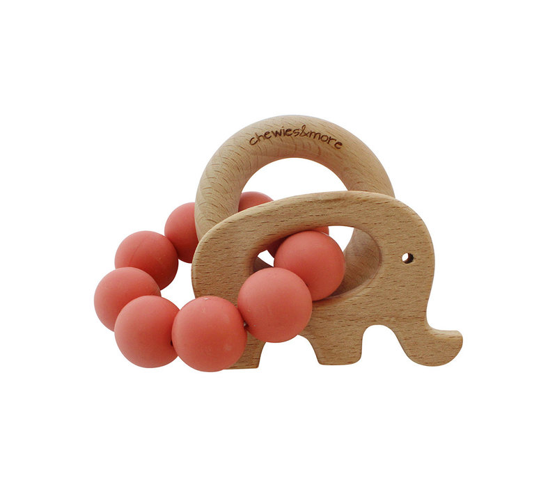 Chewies & More Play Rattle Elephant Coral