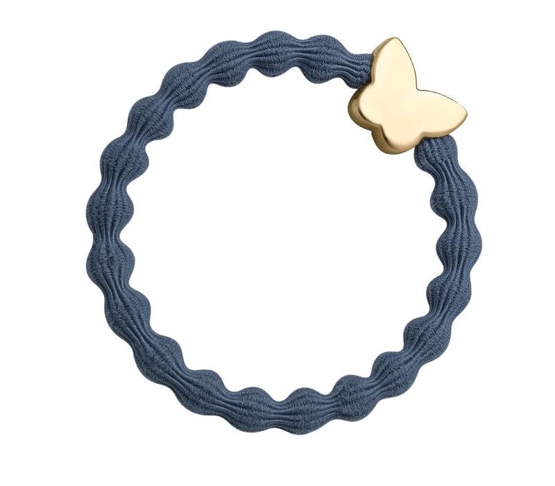 By Eloise Hair Tie / Bracelet Gold Butterfly Dove Blue