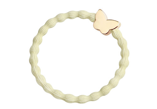 By Eloise Hair Tie / Bracelet Gold Butterfly Melon Yellow