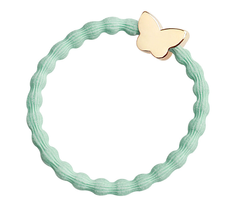 By Eloise Hair Tie / Bracelet Gold Butterfly Mint