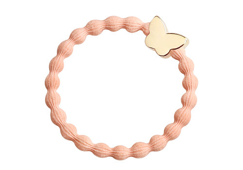 By Eloise Hair Tie / Bracelet Gold Butterfly Peach