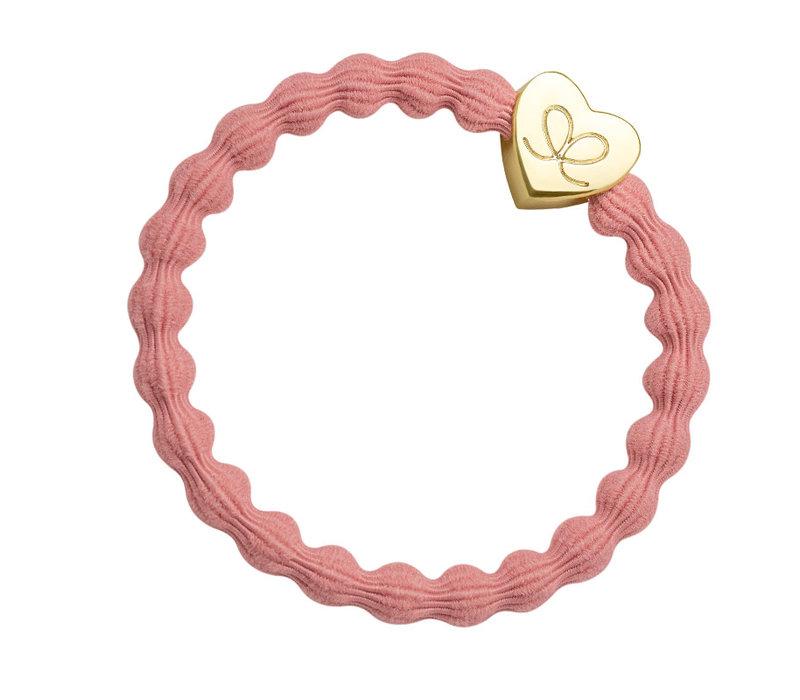 By Eloise Haarelastiek / Armband Gold Heart Coral