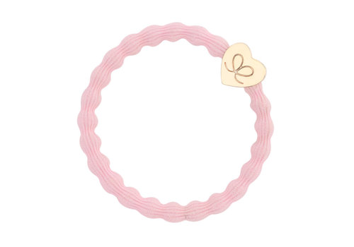 By Eloise Hair Tie / Bracelet Gold Heart Soft Pink