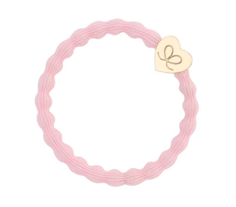 By Eloise Hair Tie / Bracelet Gold Heart Soft Pink