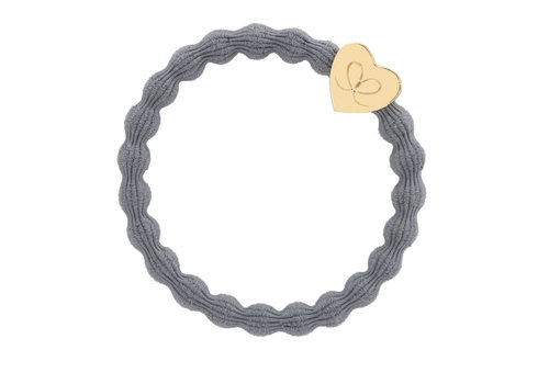 By Eloise Hair Tie / Bracelet Gold Heart Storm Grey