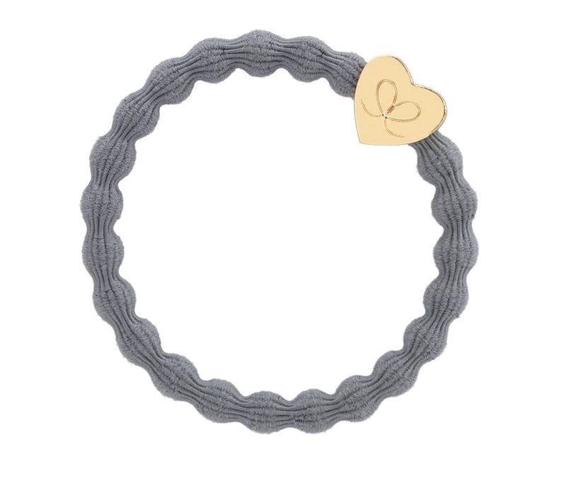 By Eloise Hair Tie / Bracelet Gold Heart Storm Grey