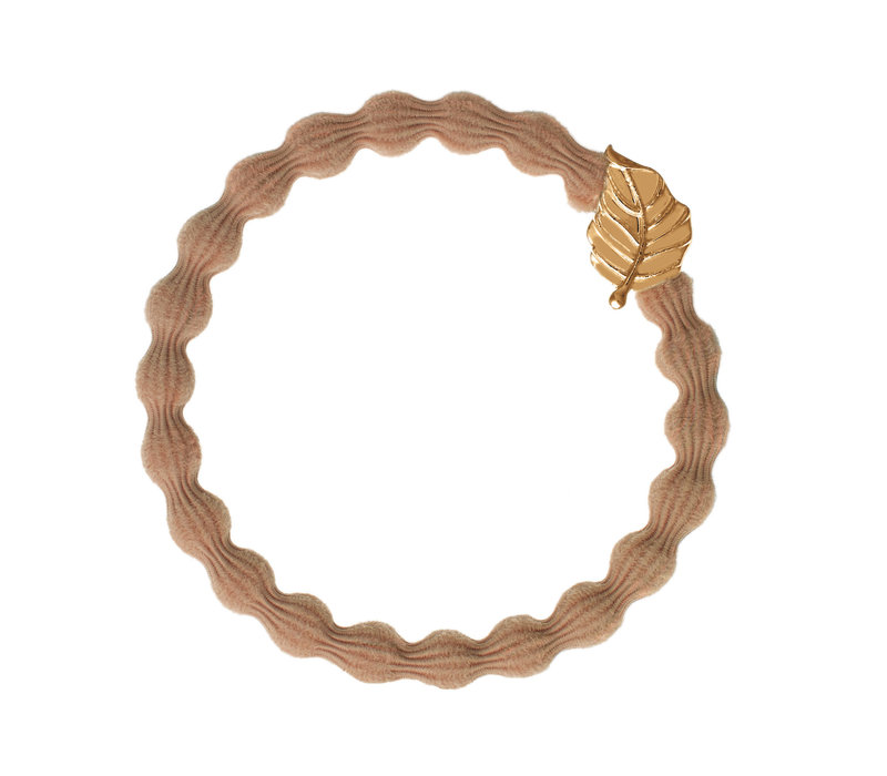 By Eloise Hair Tie / Bracelet Gold Leaf Camel